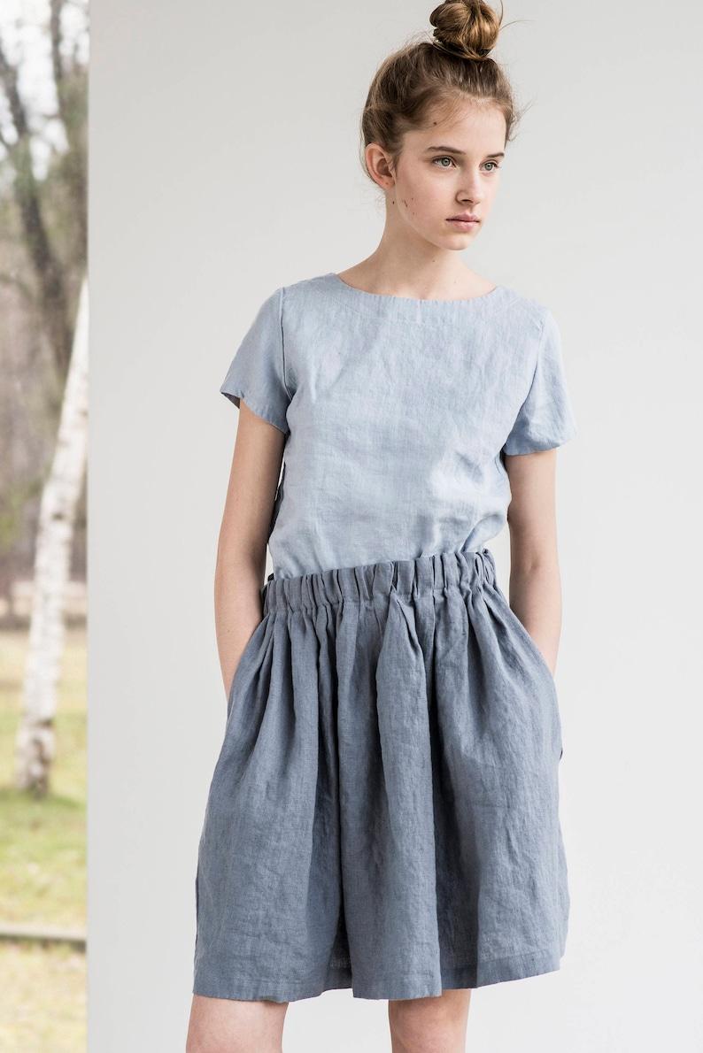 Short linen skirt BARI / Comfortable linen skirt with wide image 0