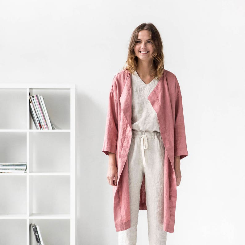 Linen coat AMSTERDAM / Washed and soft linen wrap coat / Long image 0