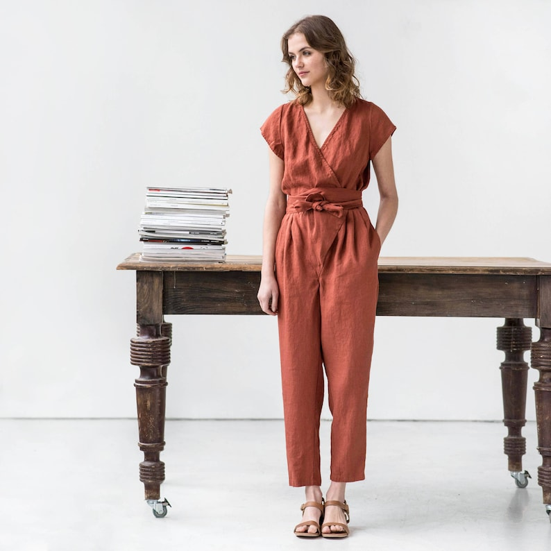 Wrap linen jumpsuit / Washed long linen overall / Linen romper image 0