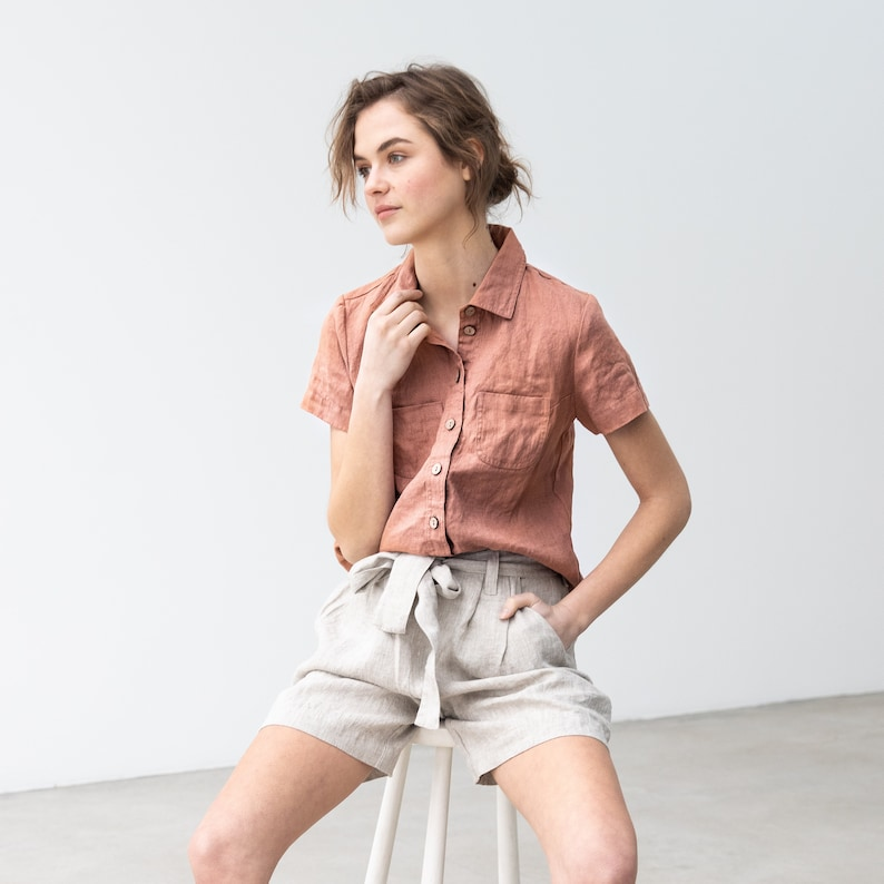 Loose pleated  front linen shorts ANTIBES image 0