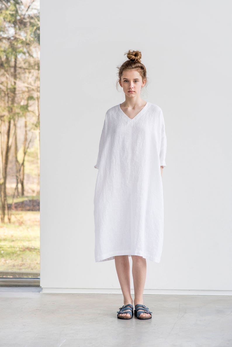 Tunic  dress VALENCIA / White linen tunic-dress / Washed image 0