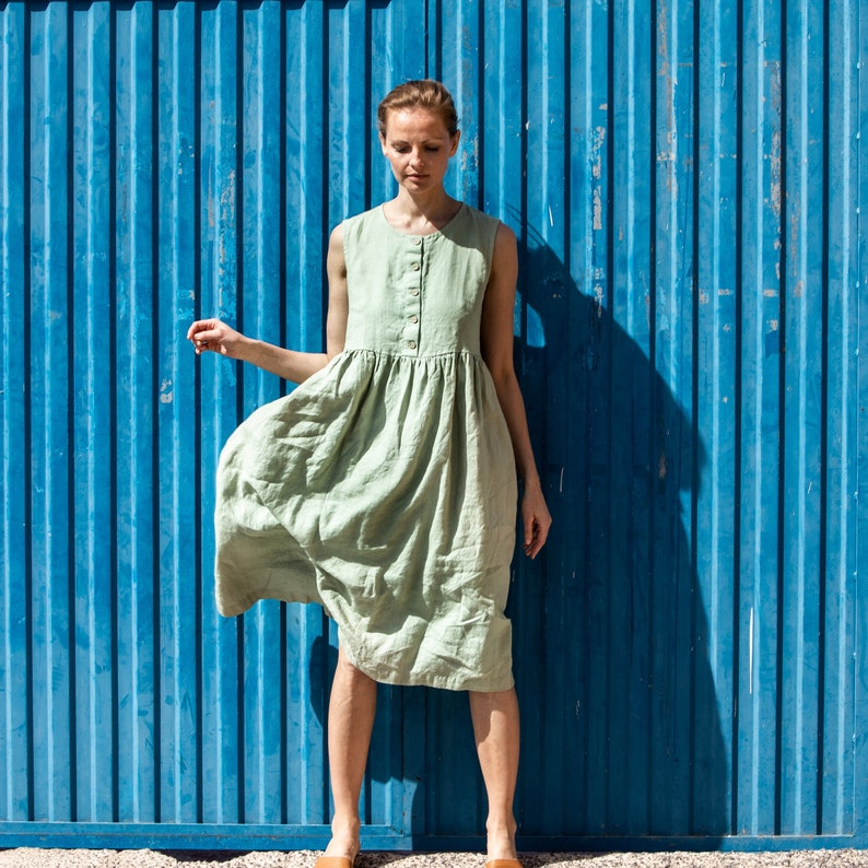 Linen loose sleeveless MAMA dress in MAXI length / Washed and image 0