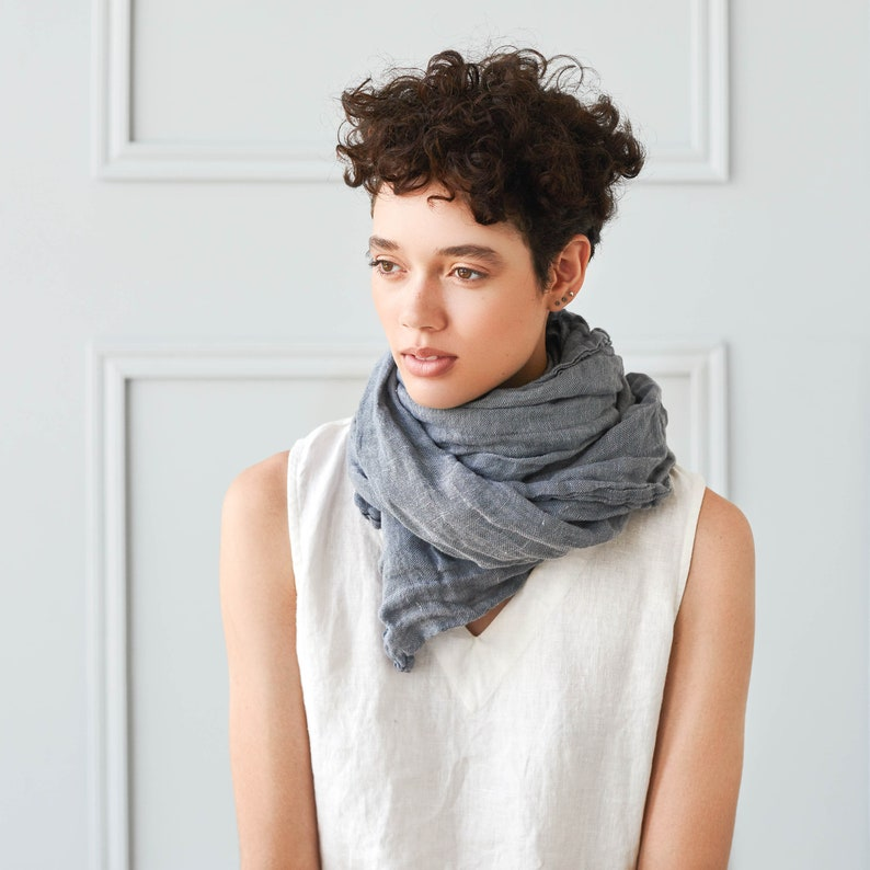 Washed linen scarf / Softened linen scarves in 10 colors / image 0