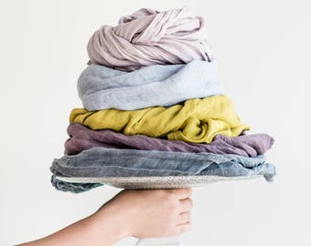 Washed linen scarf / Softened linen scarves in 5 colors / READY TO SHIP