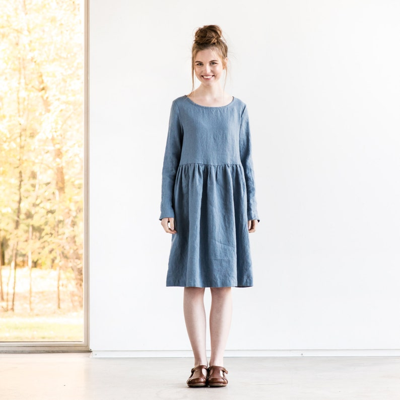 Linen loose dress with long sleeves in MIDI length / Washed image 0