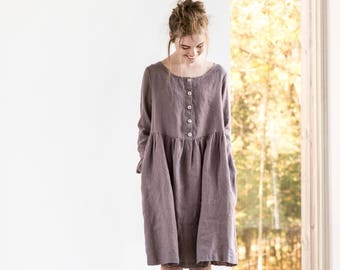 Linen loose MAMA dress in MIDI length / with long sleeves and front buttons / Washed and soft linen maternity dress in caffe mocha/purple