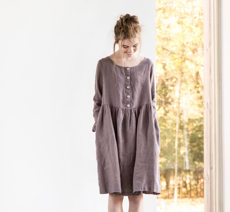 Linen loose MAMA dress in MIDI length / with long sleeves and image 0