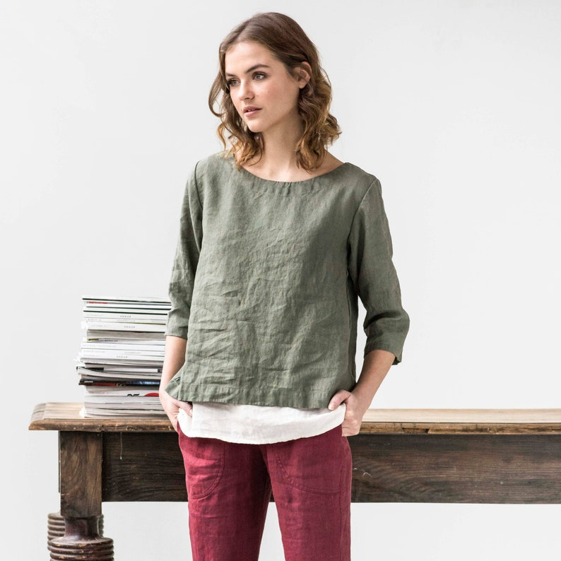 Loose linen top JANUARY / Washed linen top / available in 37 image 0