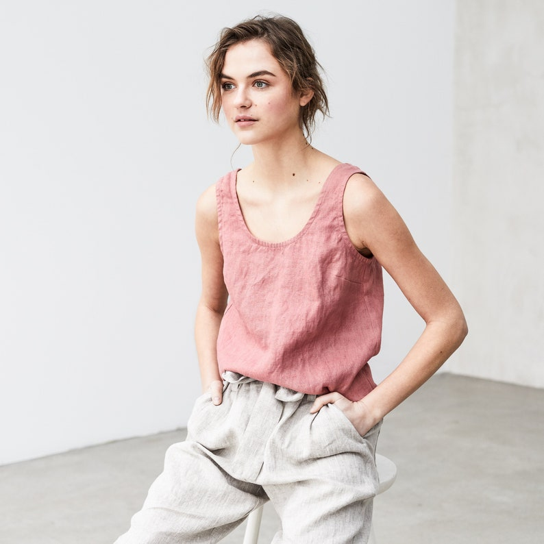 Linen tank top PORTO/ basic linen blouse available in 34 image 0