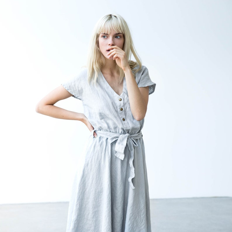 Linen dress with front snaps SYDNEY / Midi length linen dress image 0
