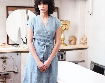 Wrap linen dress CANNES / Washed wrap linen dress available in 34 colors