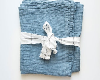 Large linen waffle bath towel / in petrol blue / READY TO SHIP / Set of 1-2-3-4