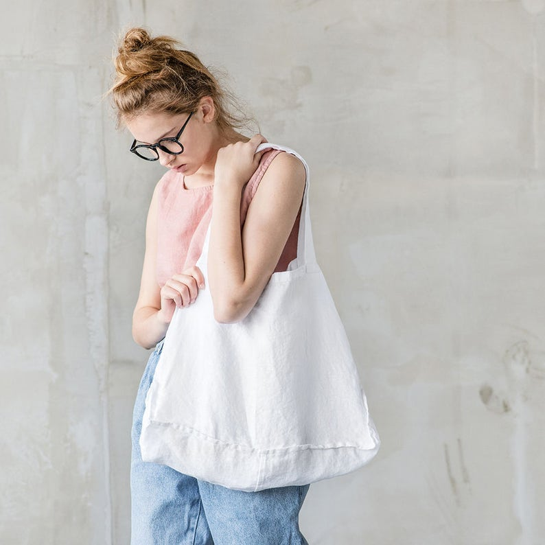 Linen tote bag in White / linen beach bag / linen shopping bag image 0