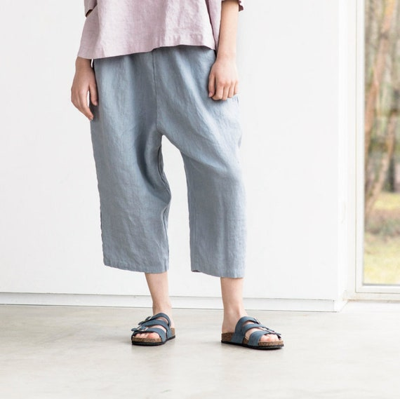 "<Span Data Inner Title="""">Linen Japanese Style Tokyo Pants / Loose Washed Linen Pants With Deep Pockets / Japanese Style Linen Trousers / Washed Linen Cropped Pants</Span> by Etsy"