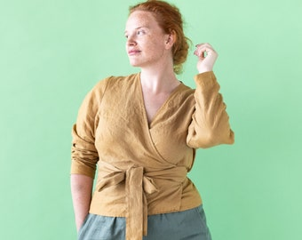Linen wrap top MADRID - 2 with long sleeves