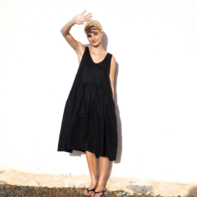 Linen smock dress OSAKA / Oversized linen dress image 0