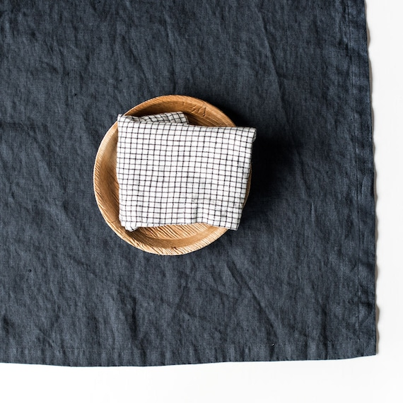 Washed Large Linen Napkins / Set Of 4, 6, 8 Or 12 Washed Handmade Linen Napkins In Charcoal by Etsy