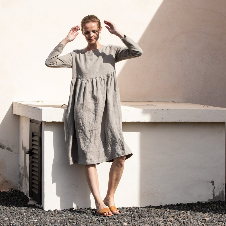 Linen loose dress with long sleeves in MAXI length / Washed image 0