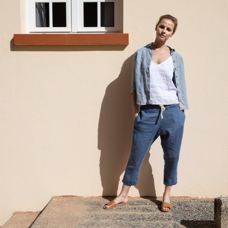 Cropped linen pants TOLEDO image 0