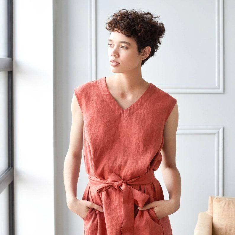 COPENHAGEN linen dress / V neck sleeveless washed linen dress image 0