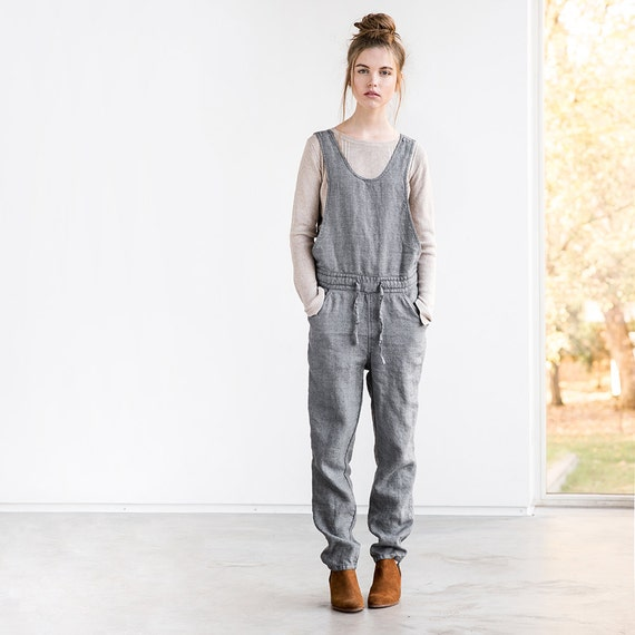 58f4bd5697df Loose full leg length linen JUMPSUIT   Washed linen wool