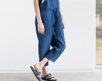 Loose Linen jumpsuit / Denim color washed  linen jumpsuit/ Washed  linen overall