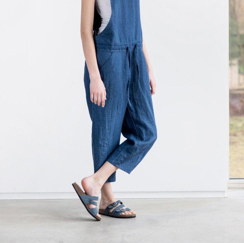Loose Linen jumpsuit / Denim color washed  linen jumpsuit/ image 0