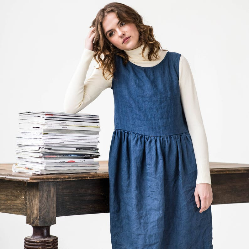 Smock linen dress in MIDI length / linen loose dress available image 0