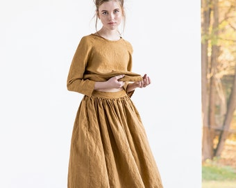 Linen skirt '1950s CITY' / with deep pockets / A - line washed linen skirt / Midi linen skirt / High waist  linen skirt in amber yellow