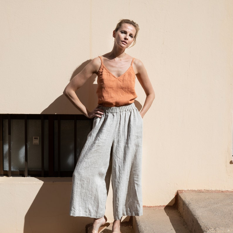Linen wide palazzo pants YORK in MAXI length  image 0