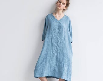 Tunic - dress VALENCIA in MIDI length / Washed and soft linen tunic dress in solid V neck