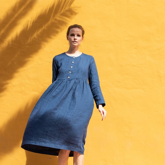 Linen loose MAMA dress in MAXI length  with long sleeves and front buttons  Washed and soft linen maternity dress