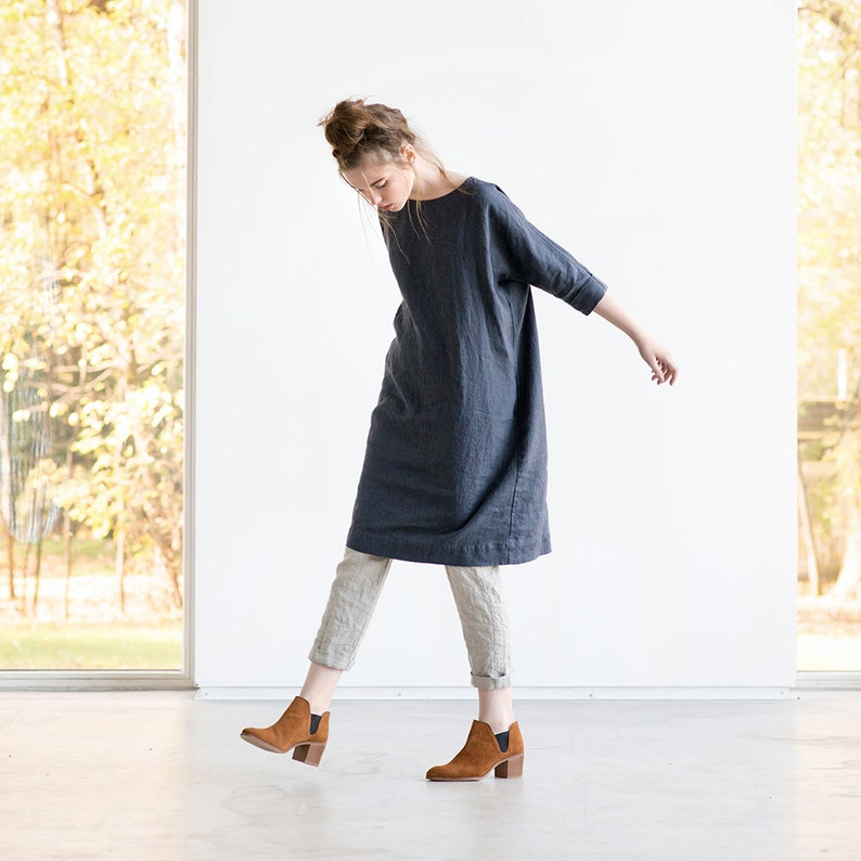 Washed linen tunic NOVEMBER / Linen tunic dress in charcoal / image 0