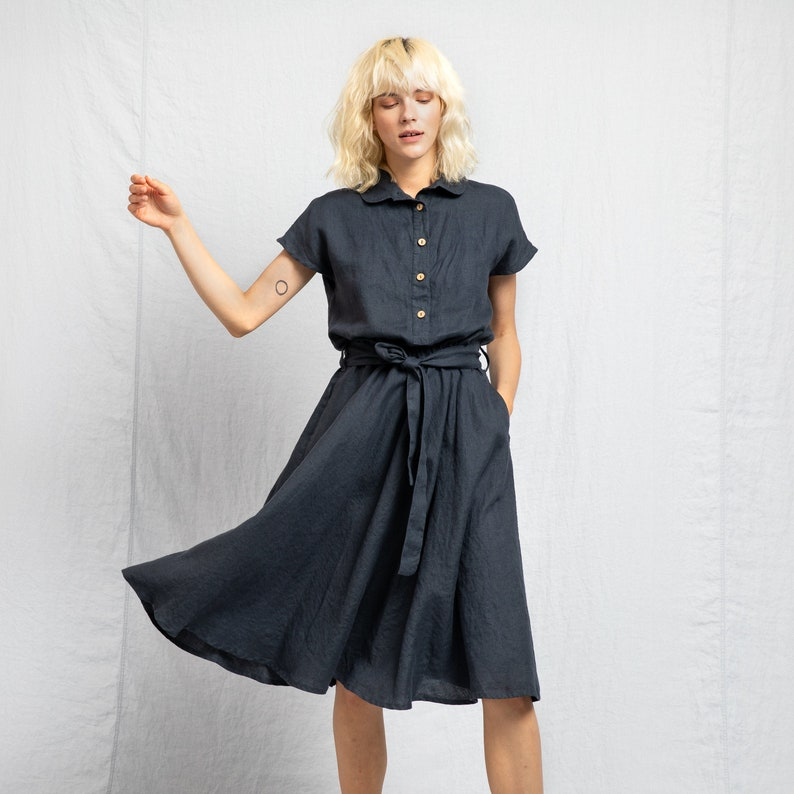 Linen dress with collar PERTH / Midi length linen dress image 0