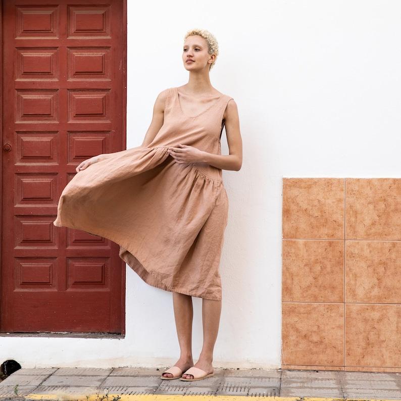 Linen smock dress OSAKA / Oversized linen dress image 0