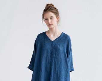 Tunic - dress VALENCIA in MIDI length / Washed and soft linen dress / Oversized linen dress in V neck