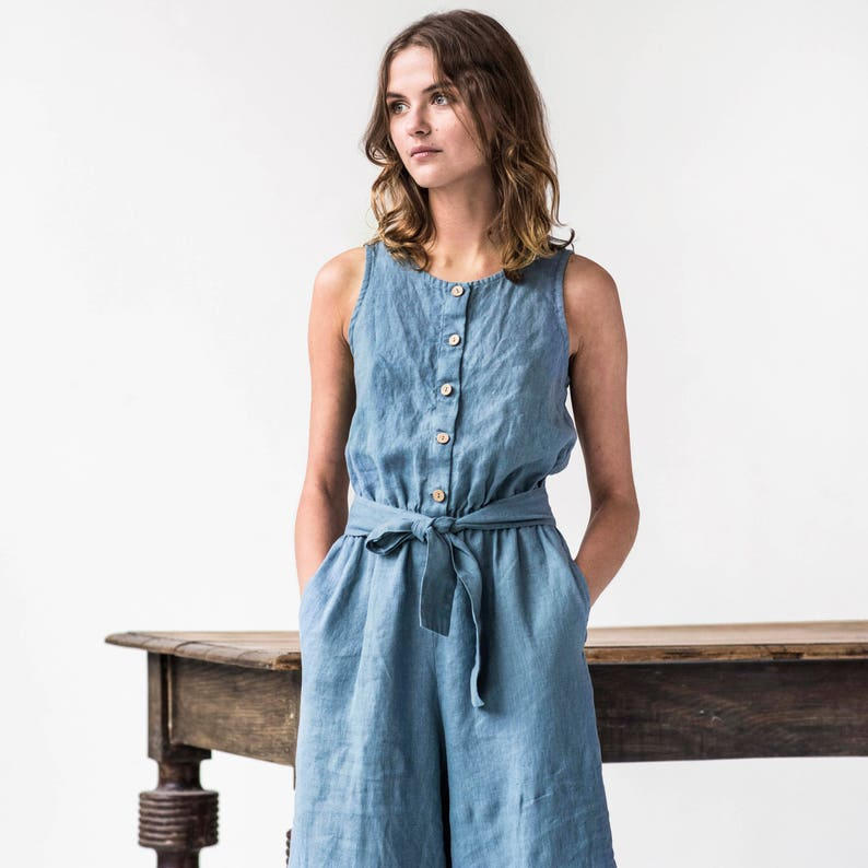 Linen front button jumpsuit PALMA / Washed linen overall / image 0