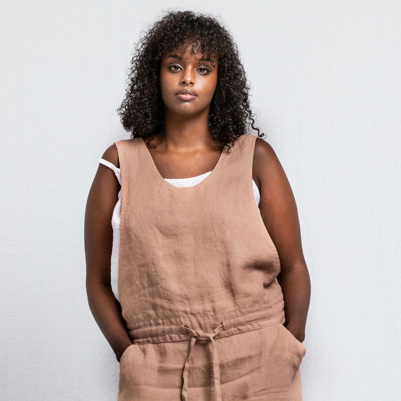 Loose Linen jumpsuit / Light elephant grey washed  linen image 0