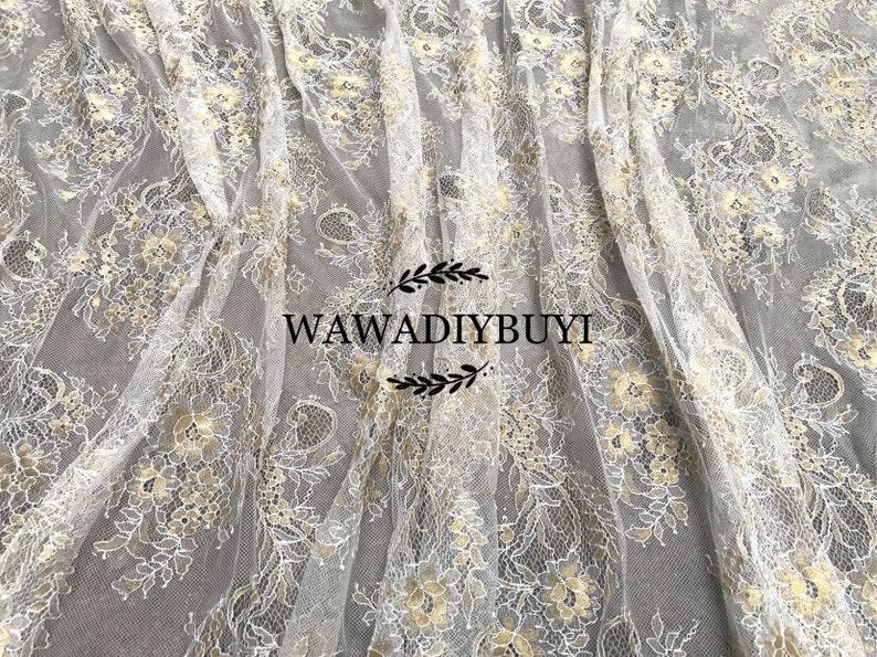 Exquisite Gold Embroidery GauzeMesh Eyelash Bridal Wedding Dress Lace Fabric 150cmX300cm Piece