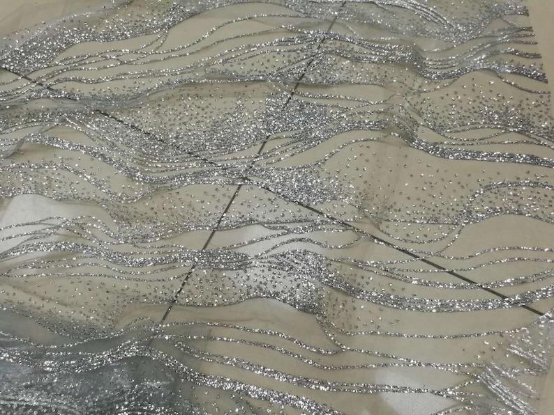 Delicate Bling Bling Glitter Sequins Iron-on Hotfix Wedding Dress Fishtail Dress Lace Mesh Fabric 57WideYard A