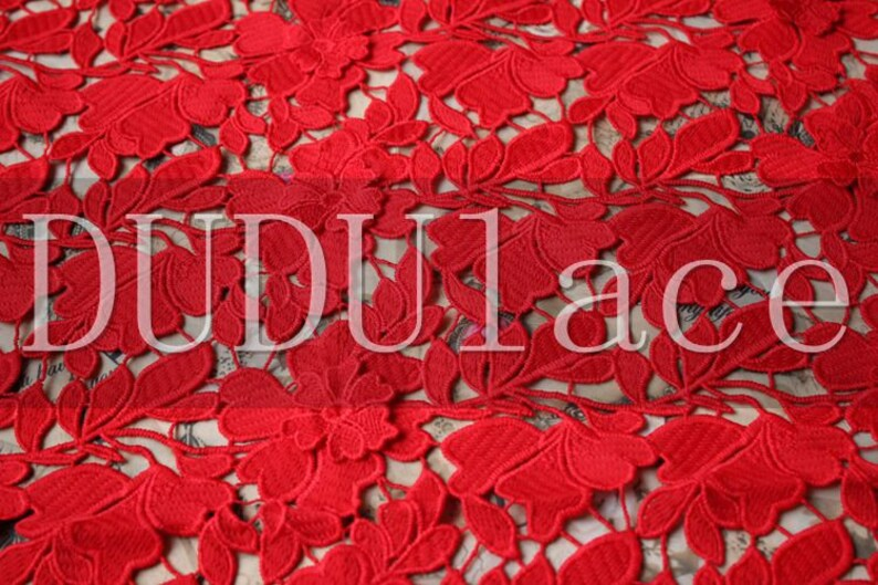 3D Delicate Red Elegent Hollow Bridal Wedding Dress Chemical Lace Fabric 47.2WideYd