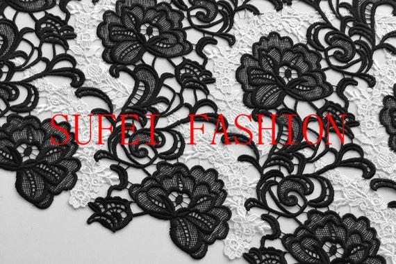 Top exquis personnalisé broderie creux dentelle noir + blanc dentelle creux robe tissu 47,2