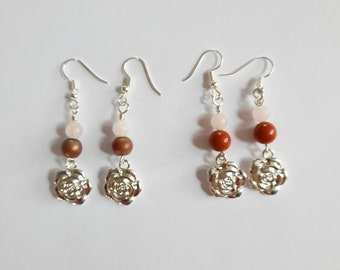 Silverplated Earrings with Rose and Crystals of Your Choice
