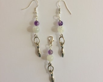 Goddess Jewelry Set with Moonstone and Amethyst