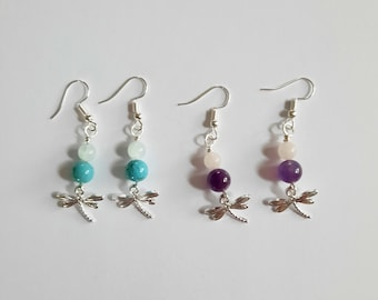 Zilverplated Earrings with Dragonfly and Crystals of your Choice