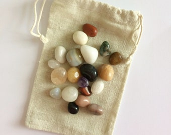 Pouch with Crystal Mix 100 grams ~ Jasper ~ Agate ~ Quartz