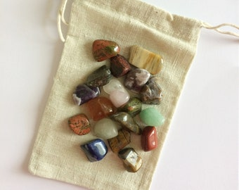 Pouch with Colorful Crystal Mix 100 grams ~ Tiger's Eye ~ Agate ~ Rose Quartz ~ Amethyst ~ Aventurine