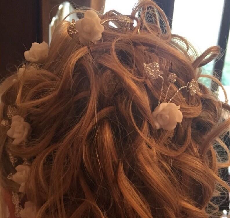 Bridal flower hair pin Rhinestone leaf hair clip. Wedding diamante hair slide White floral hair pin