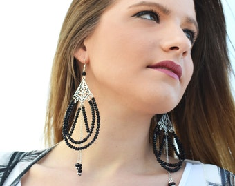 Chandelier earrings, Statement earrings, Black earrings, Silver earrings, Long earrings, Beaded earrings, Crystal earrings, Unique earrings