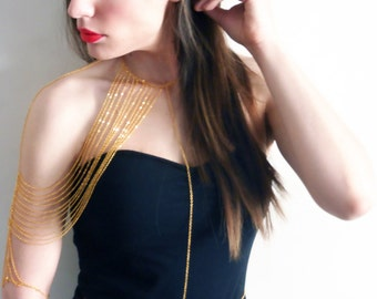 Statement Body Chain, Shoulder Jewelry, Epaulet, Harness, Wedding Jewelry, Body Jewelry, Gold Plated, Sleeve, Belly Chain, Sexy, Edgy, Back